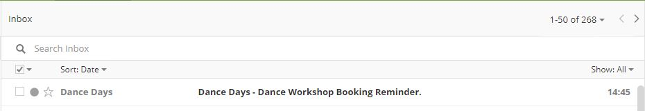 Inbox View - Booking Confirmation Reminder