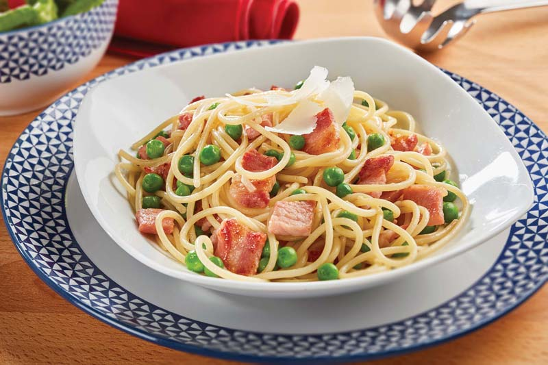 Spaghetti With Bacon, Peas And Lemon