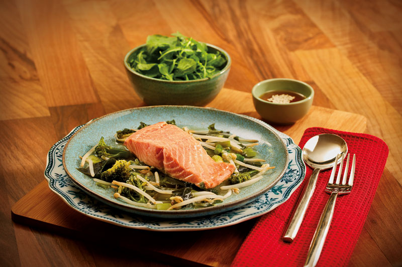 Salmon with miso and veg