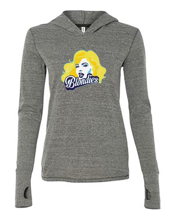 Ladies Thumbhole Hooded Pullover Grey