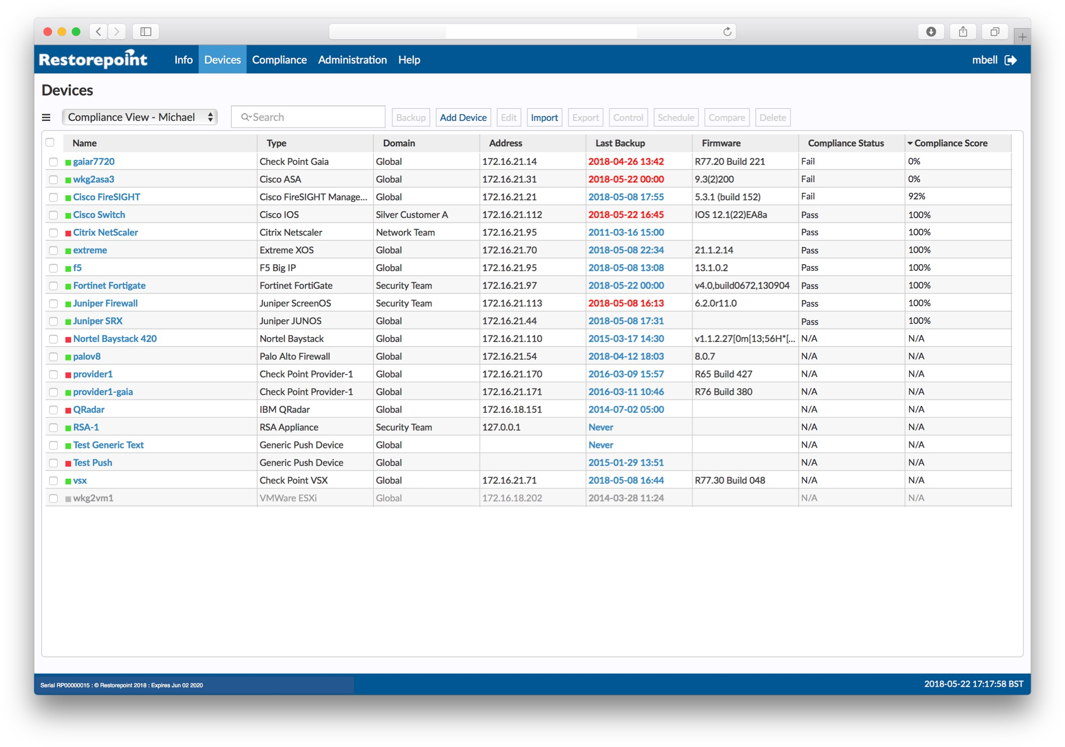 Centralise network compliance auditing