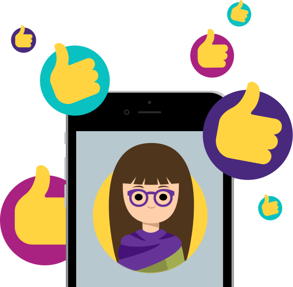 Phone with an image of a person wearing a shawl. Thumbs up icons of various sizes surround the phone.