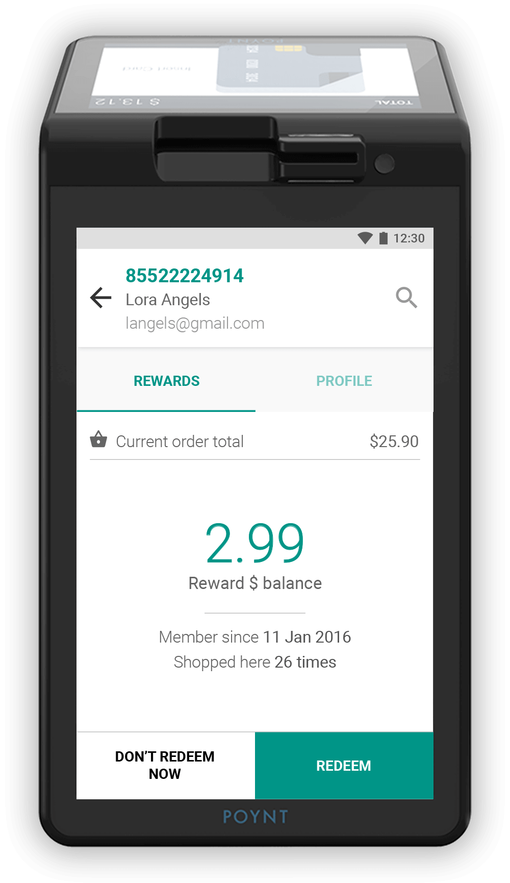 Image of Poynt POS terminal and My Rewards Dollar Rewards and Text Message Marketing app