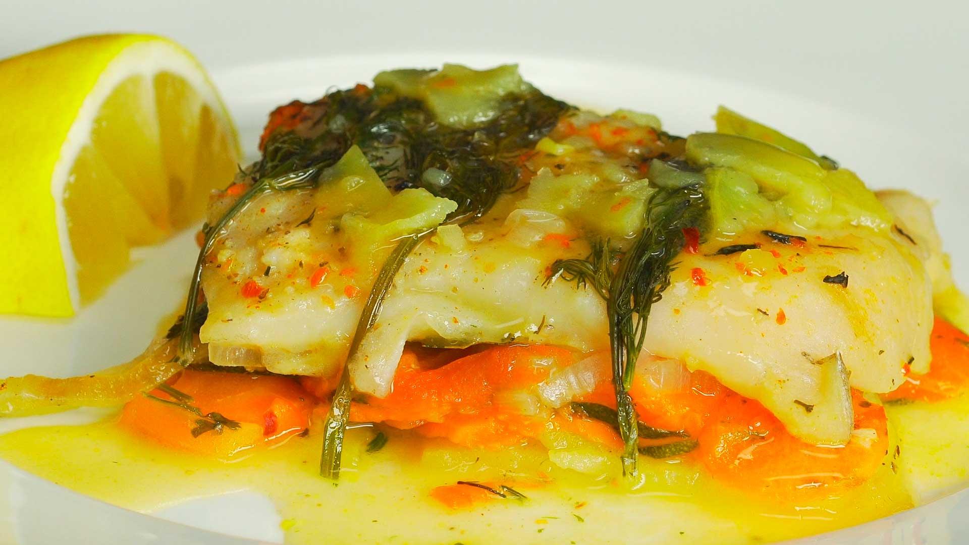 Пангасиус запеченный с овощами
