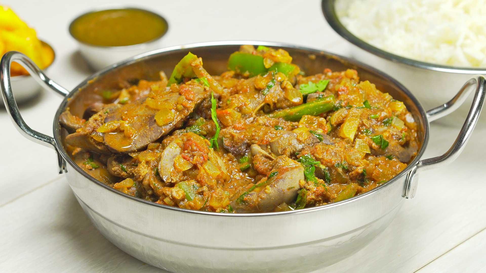Куриная печень по-индийски