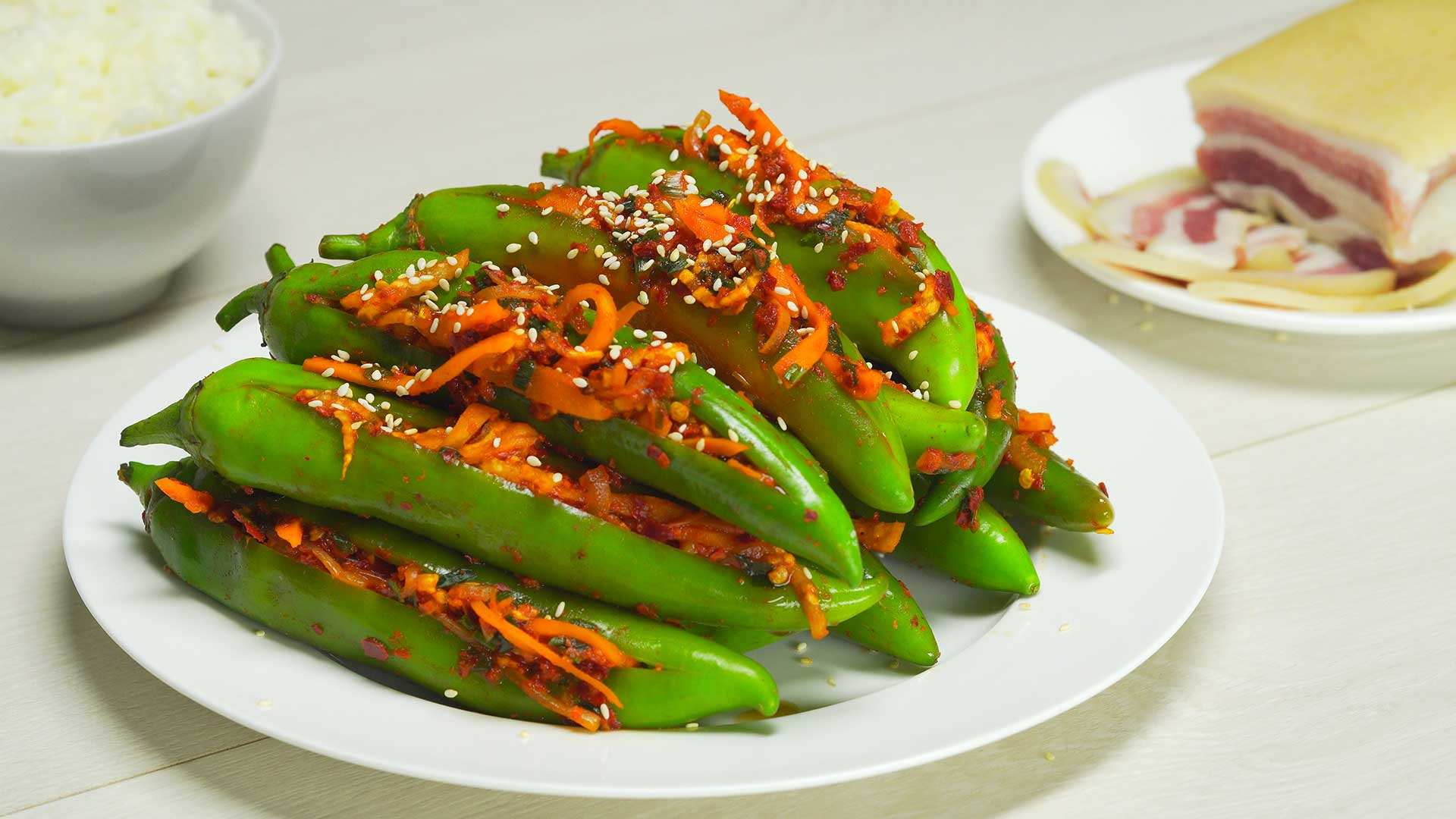 Зеленый острый перец кимчи
