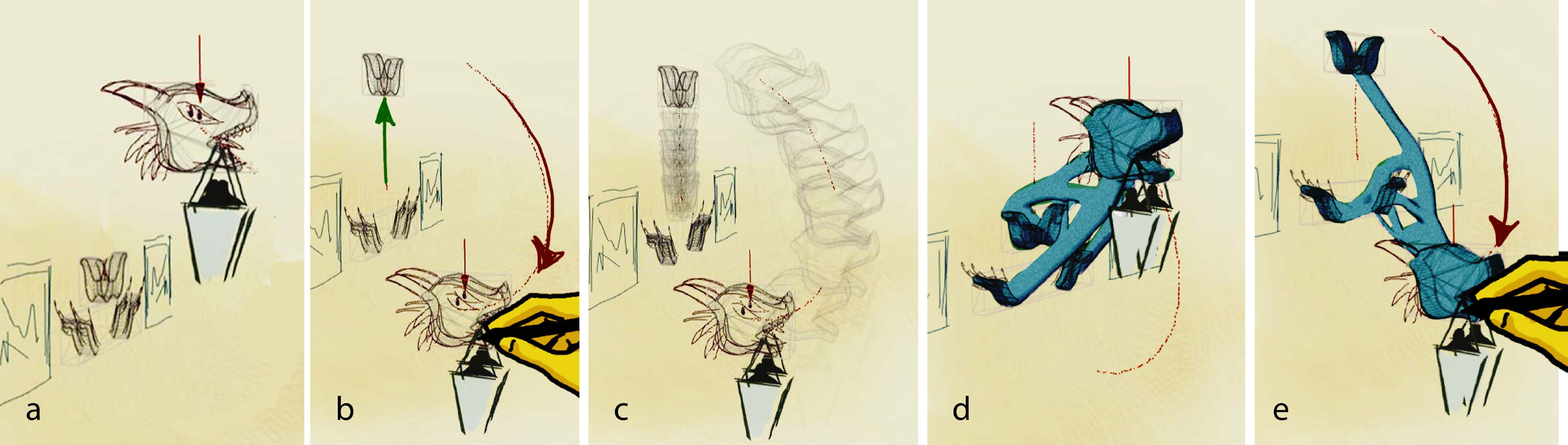 Image:  Source Autodesk DreamSketch Figure 1: We bring the power of generative design in the early stages of design exploration with freeform 3D sketches. (a) The user defines a problem definition by roughly sketching a dragon-shaped lamp holder, the anchor to the wall, and a load value (redarrow). (b) The user then defines a design variable (red) and a constraint (green) to specify a range of possible spatial configurations. (c) The design space of the resulting problem definition is specified, with a range of possibilities. (d-e) Our system then generates optimal solutions for the entire design space using topology optimization, along with their performance data. The user navigates through the results by directly manipulating the objects.