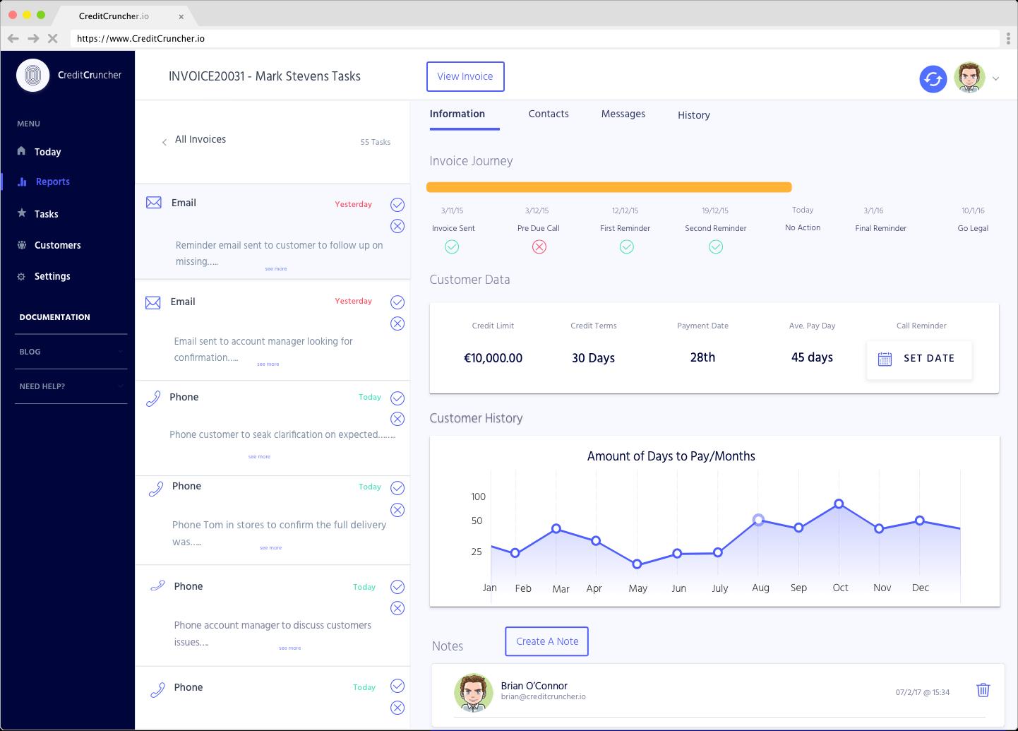 CreditCruncher main tasks screen