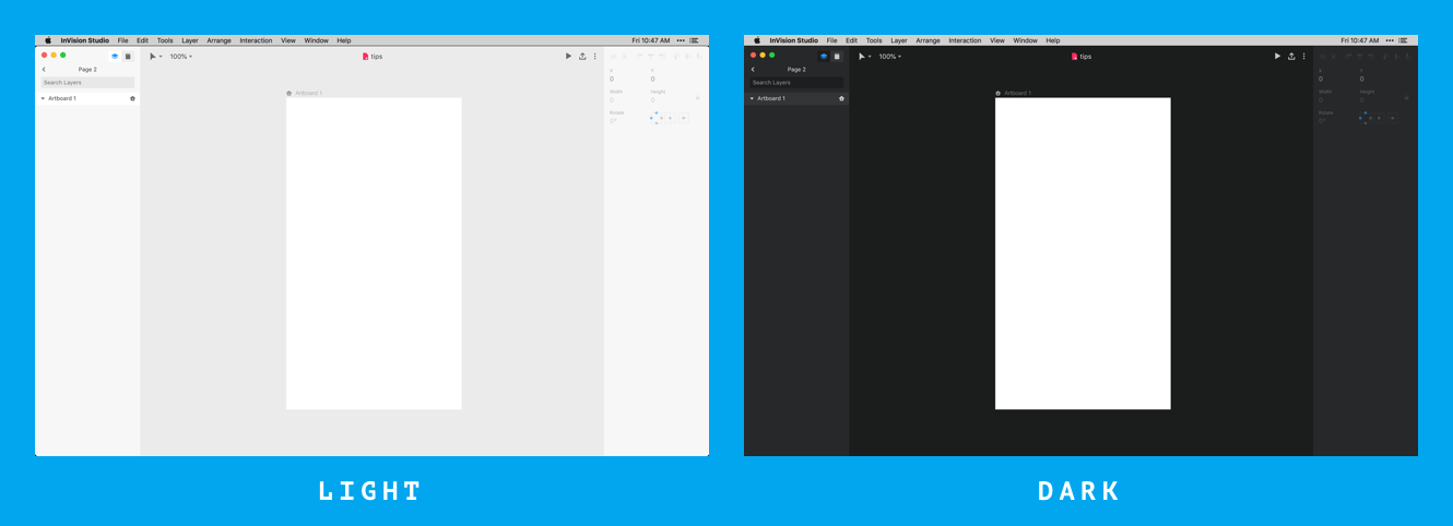 Examples of dark and light themes in InVision Studio