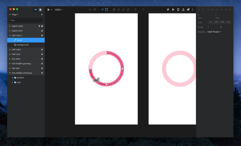 InVision Studio scissors tool