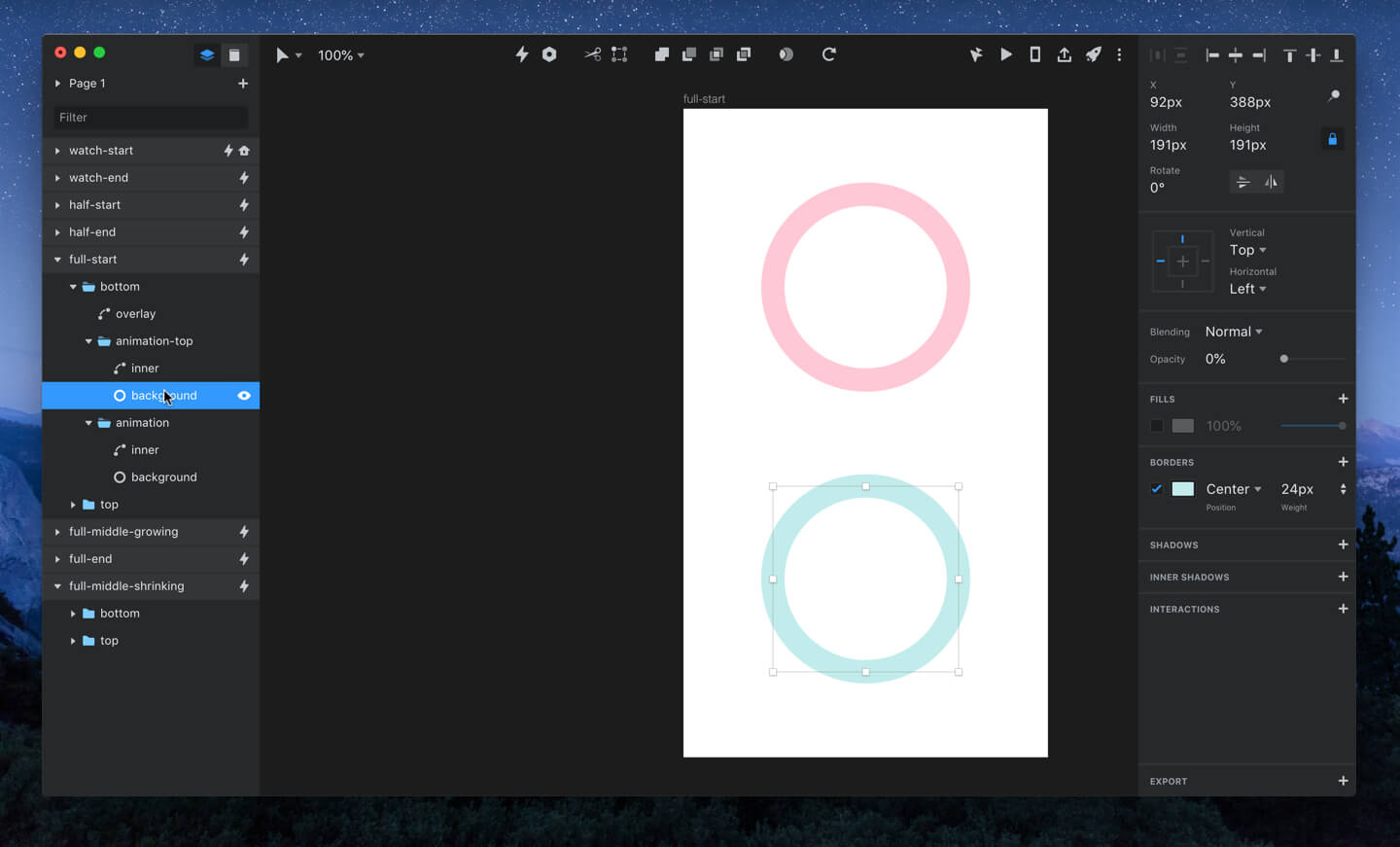 Layer setup and opacity of 'background' layer