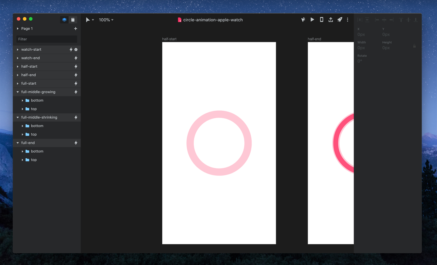 InVision Studio user interface with two artboards visible