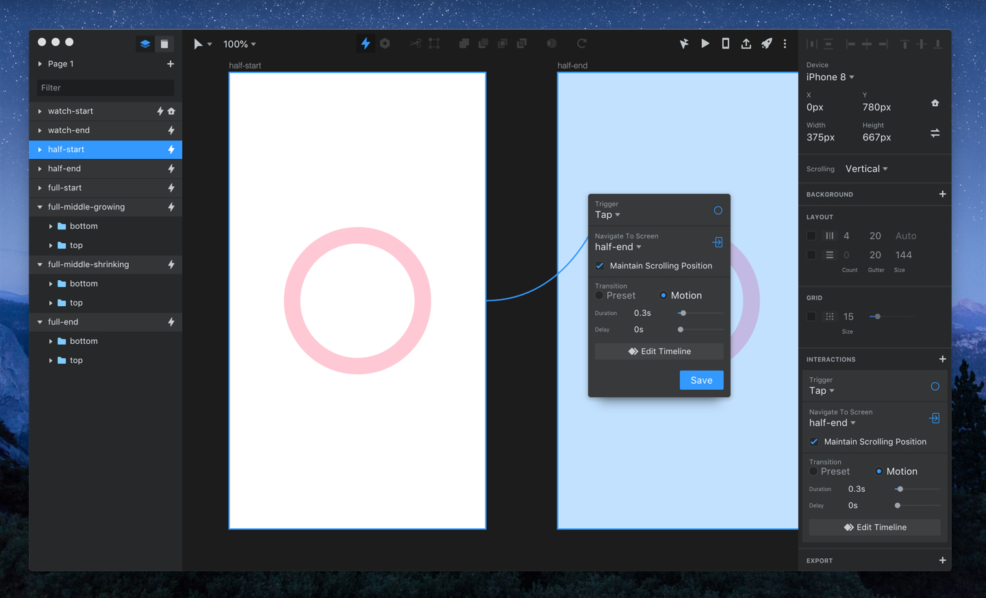 Adding an interaction in InVision Studio