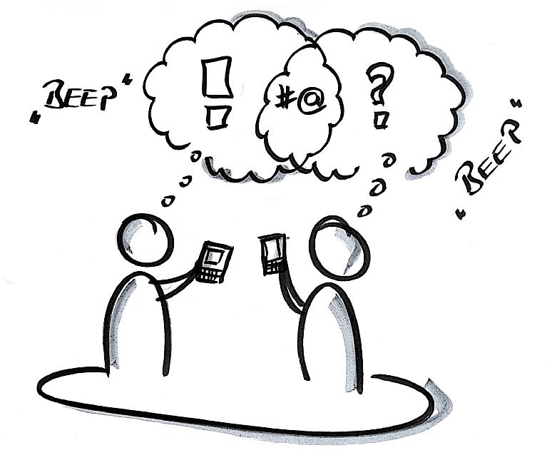 Zeichnung über zwei Personen, die digitale Informationen austauschen
