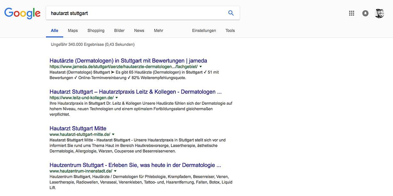 """Suchergebnisliste einer Google-Suche mit den Suchbegriffen """"hautarzt stuttgart"""""""
