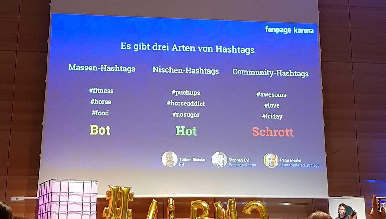 Screenshot mit Auflistung der 3 Arten von Hashtags