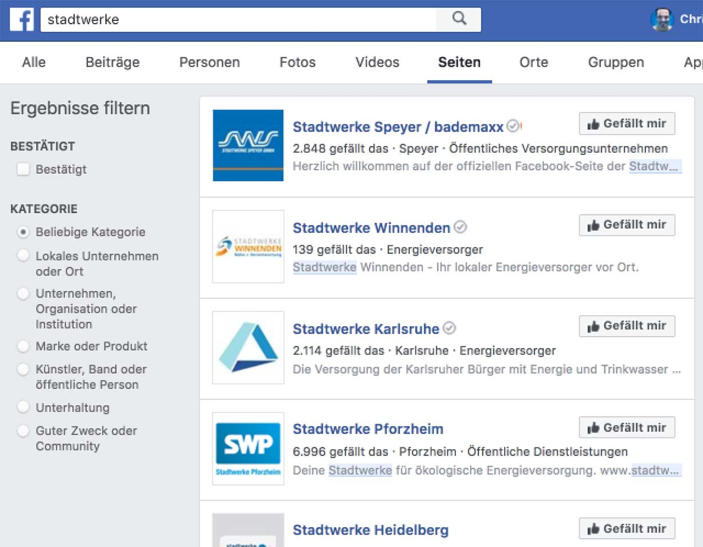 Auflistung von Stadtwerk-Facebook-Profilen