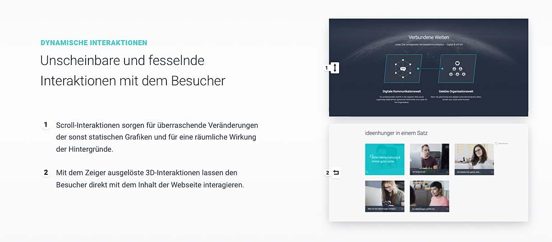 Weitere Impressionen der mit dem German Design Award ausgezeichneten ideenhunger Website