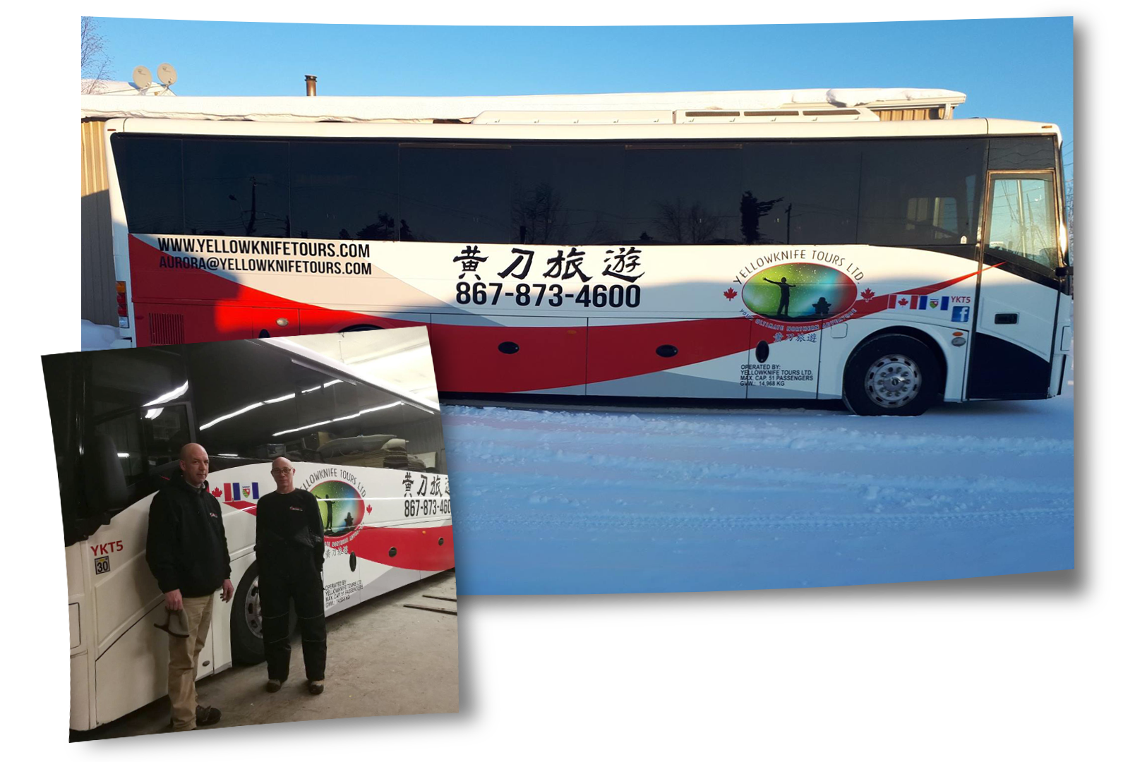 Example of vehicle wrap for Yellowknife Tours
