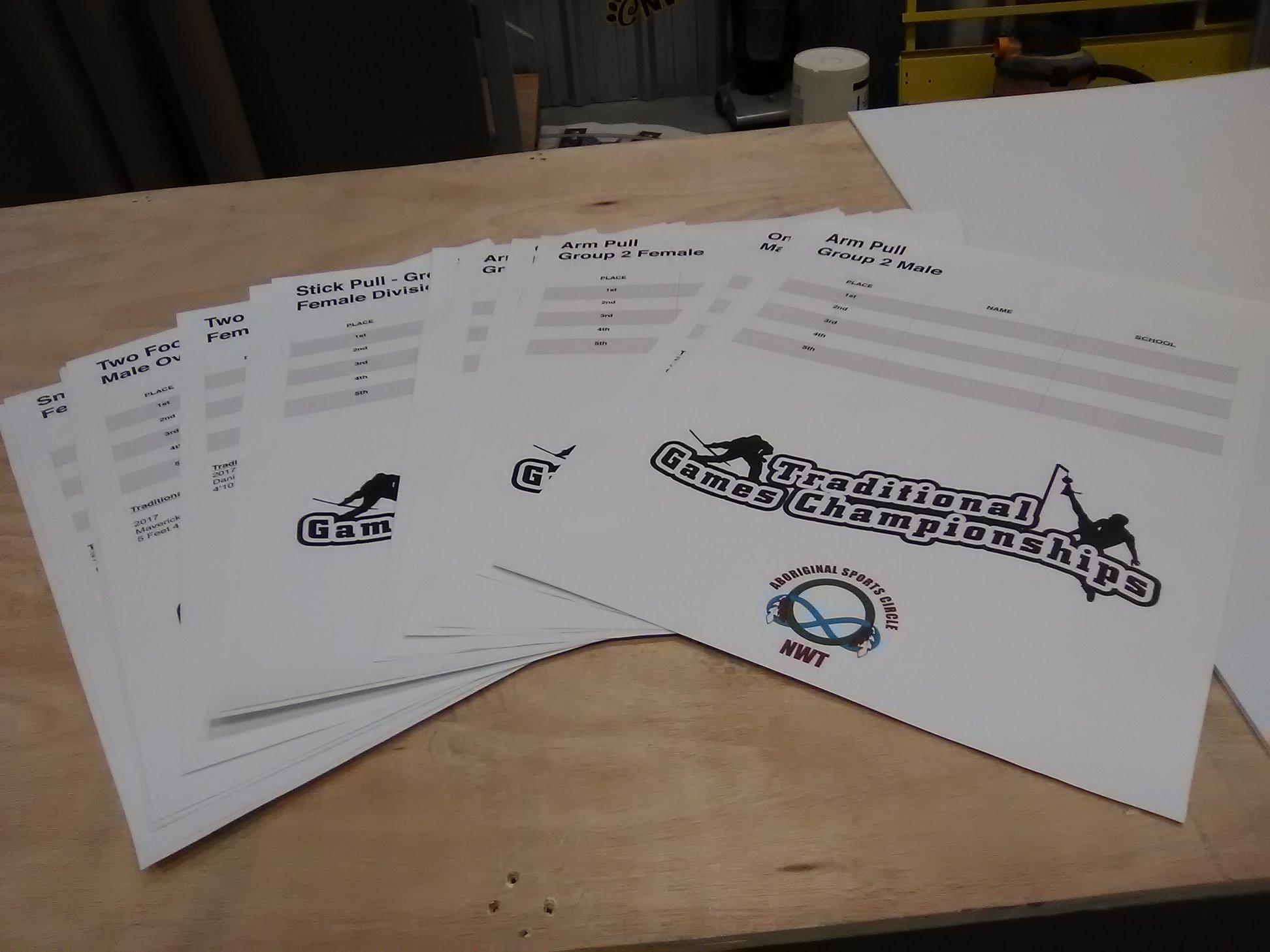 Traditional Game Championship scorecards for tournament.
