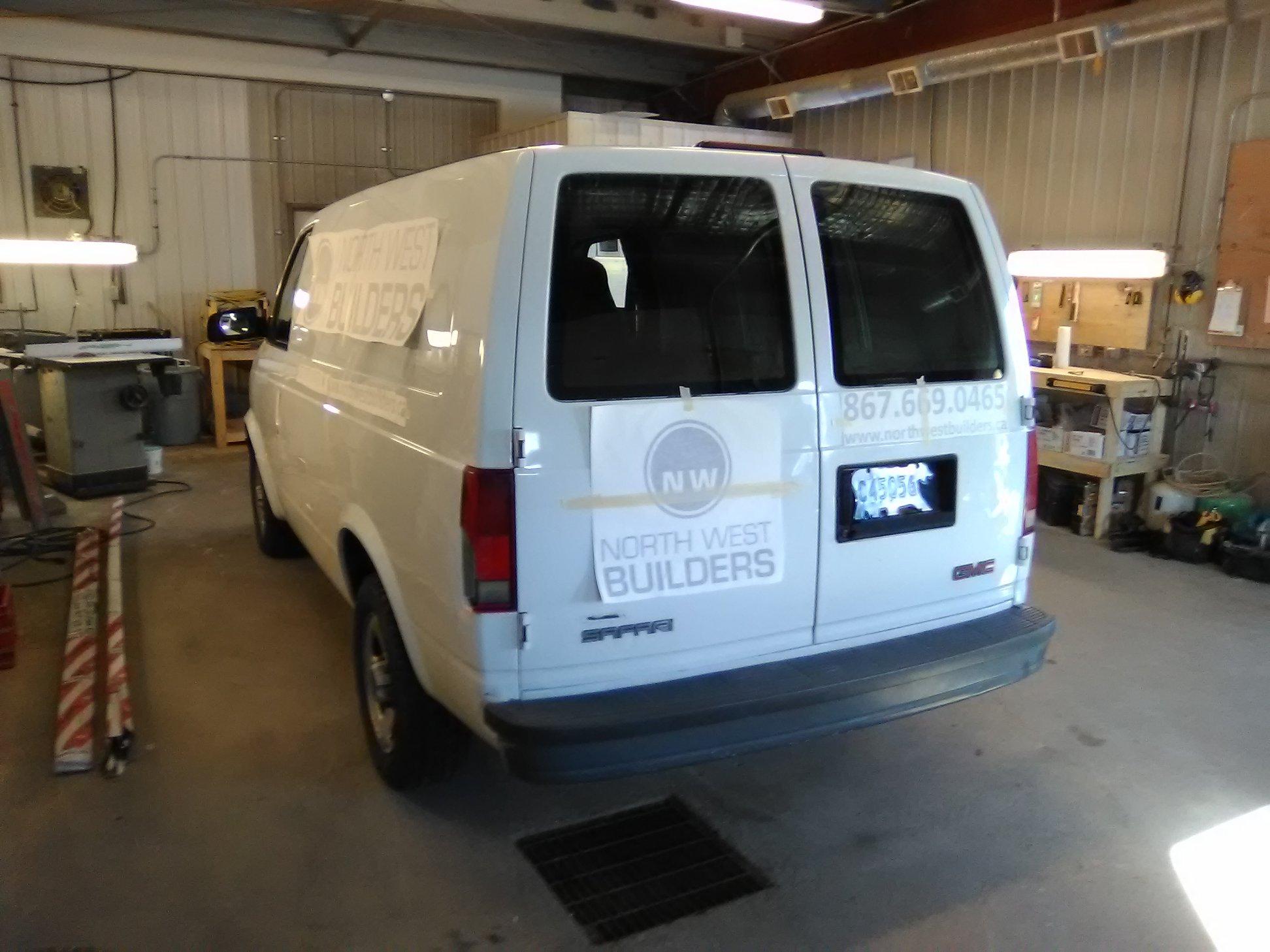 Vehicle decals for Northwest Builders fleet.