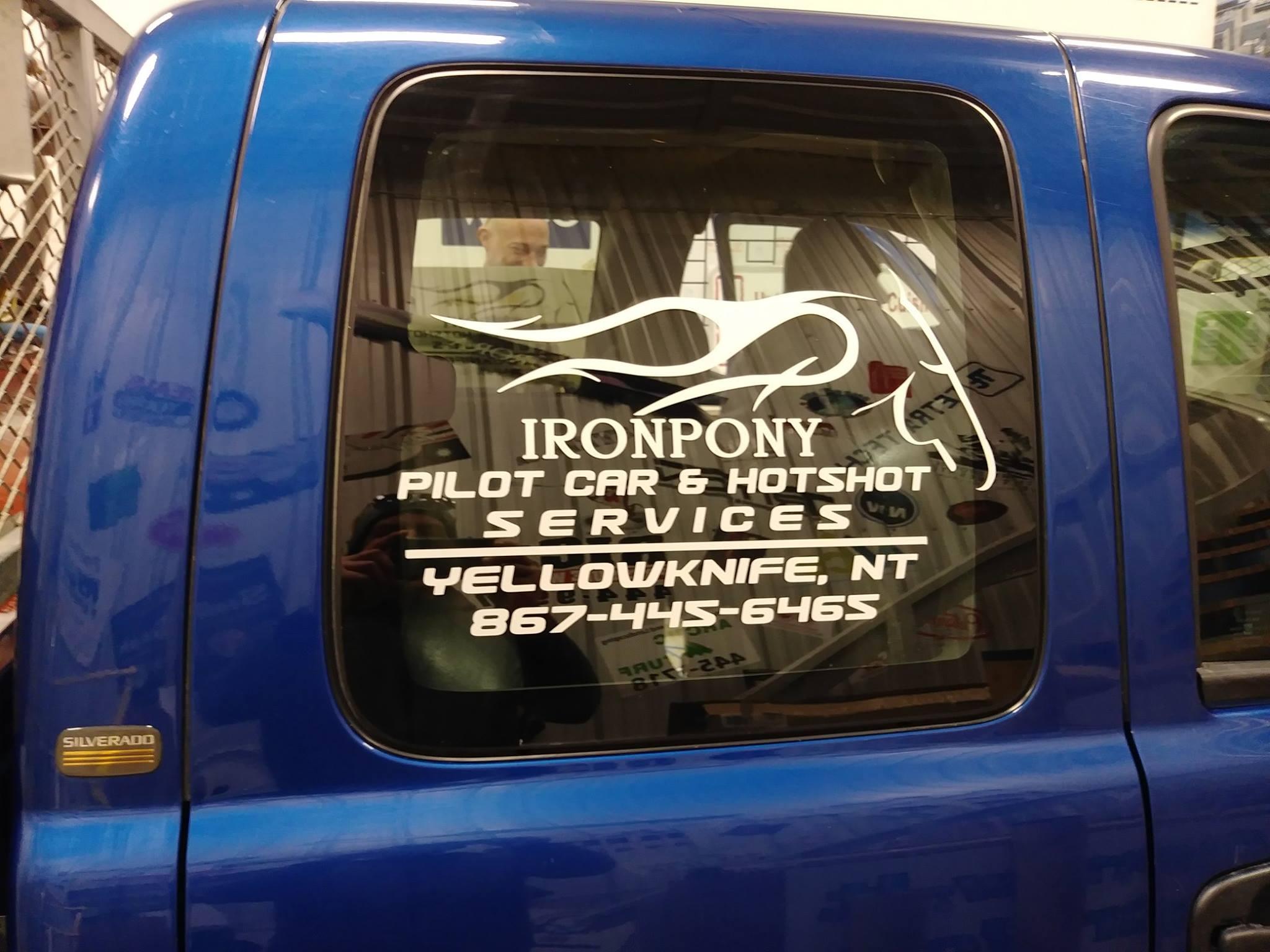 IronPony Pilot Car & Hot Shot Services Vehicle Window Decal.