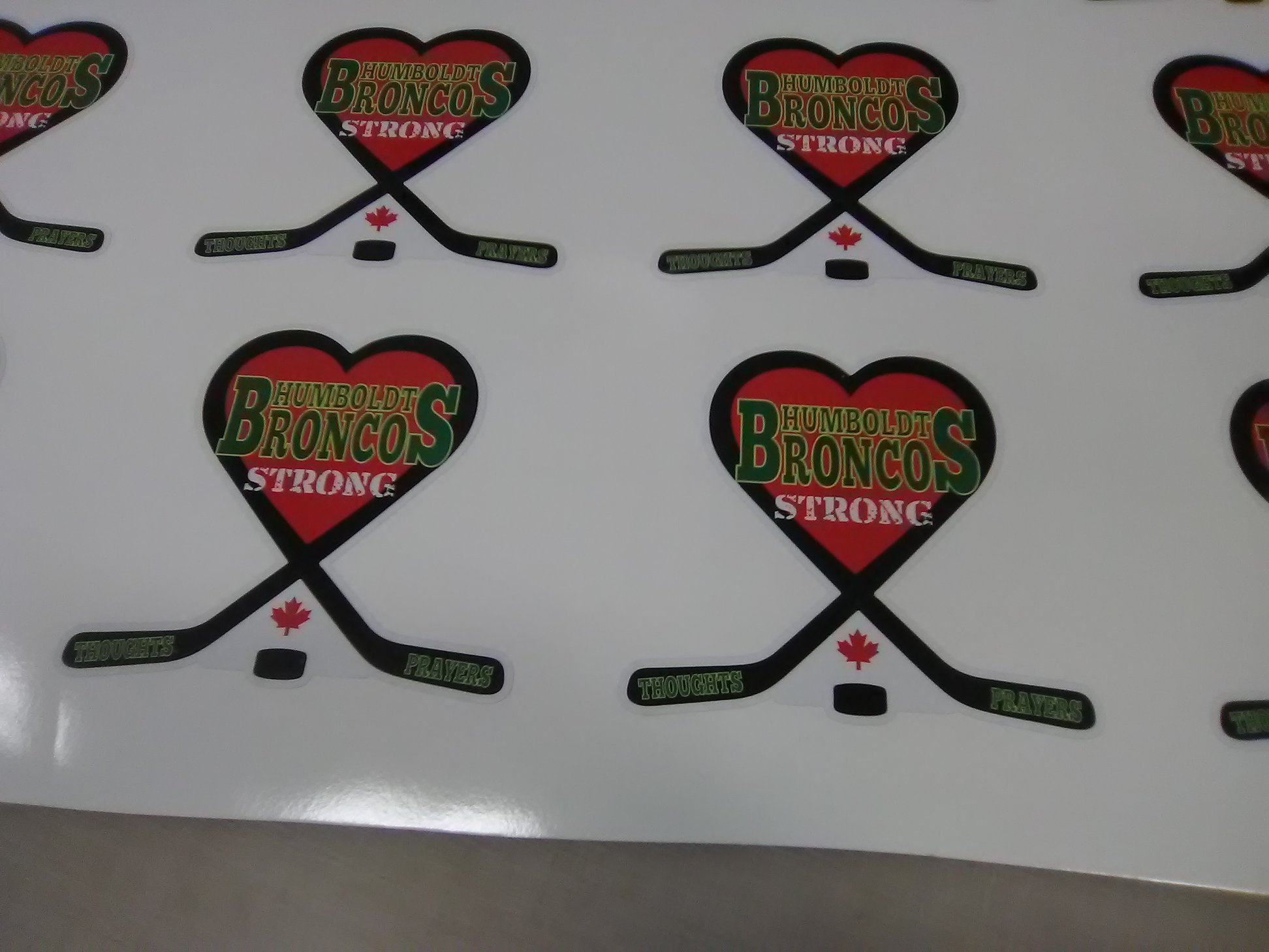 Decals for community support for Humboldt Broncos