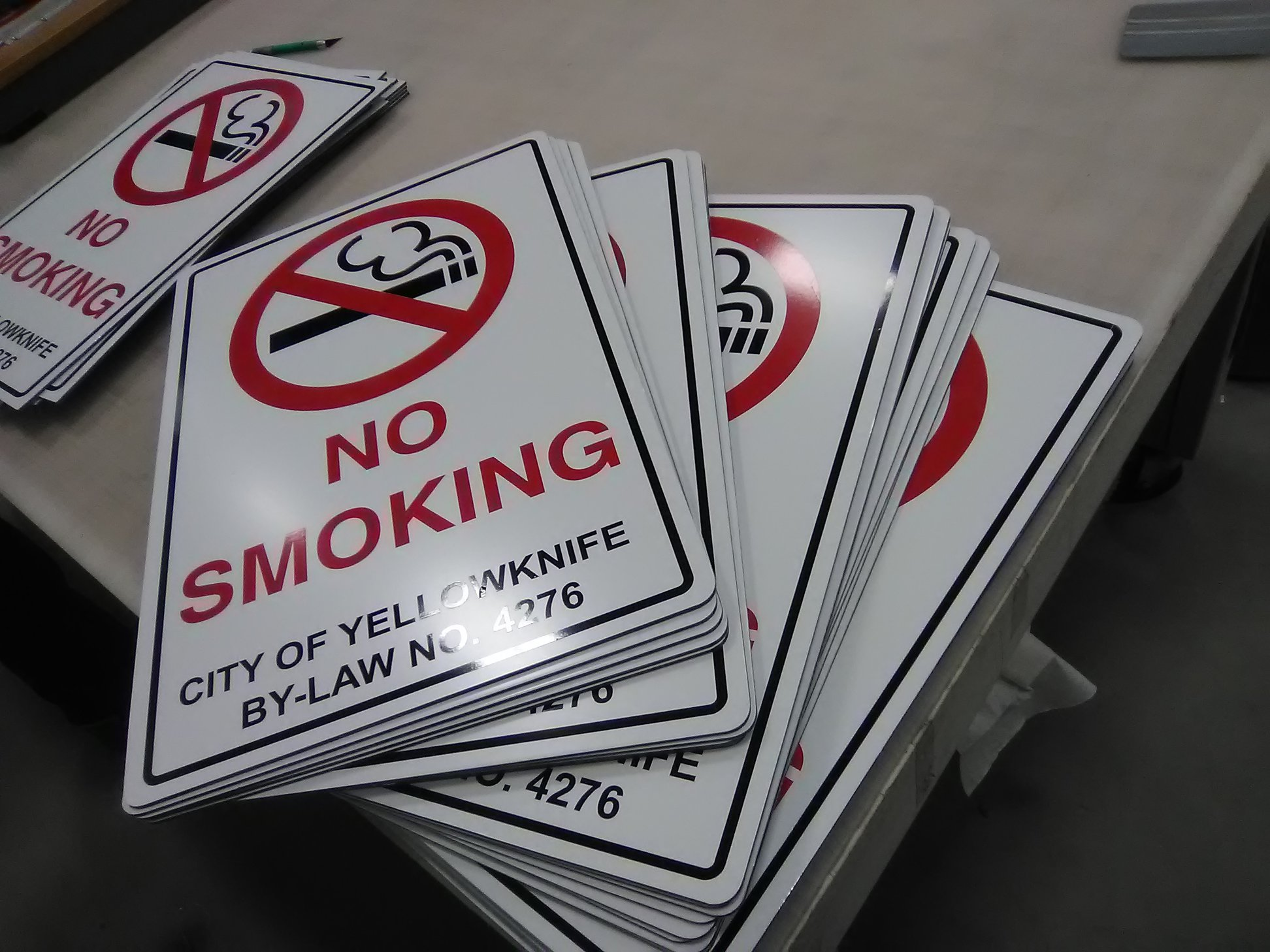 Exterior Signage for designated smoking and non-smoking areas