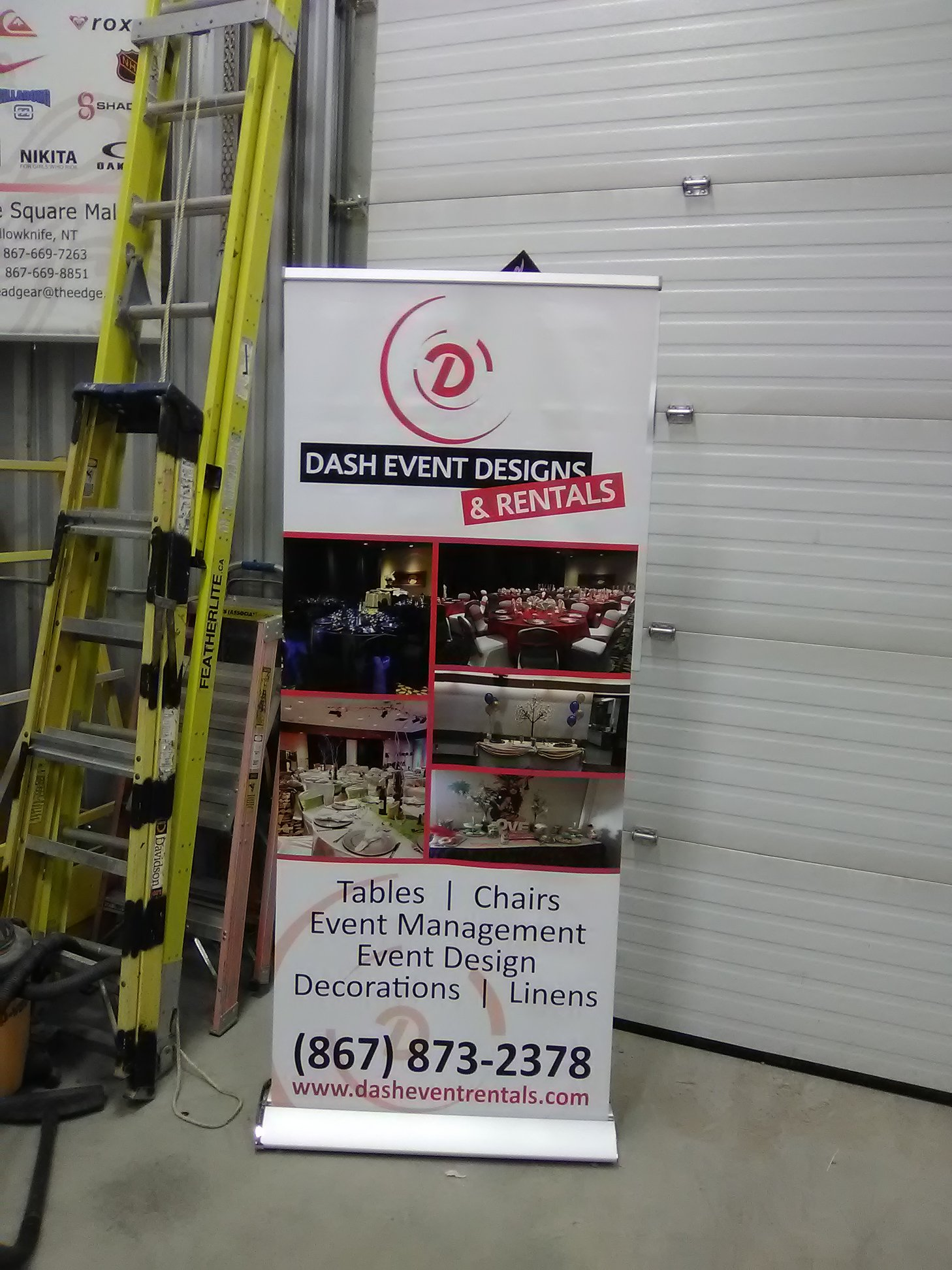 Popup banner for dash event design and rentals.