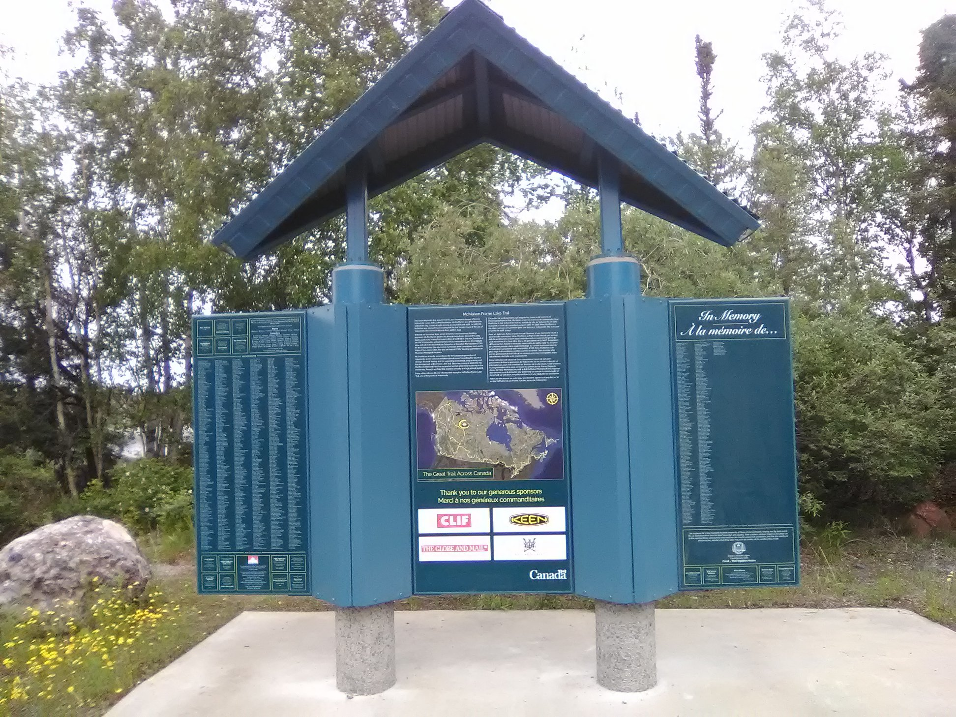 Large format custom signage and install for Frame Lake Trail Signage
