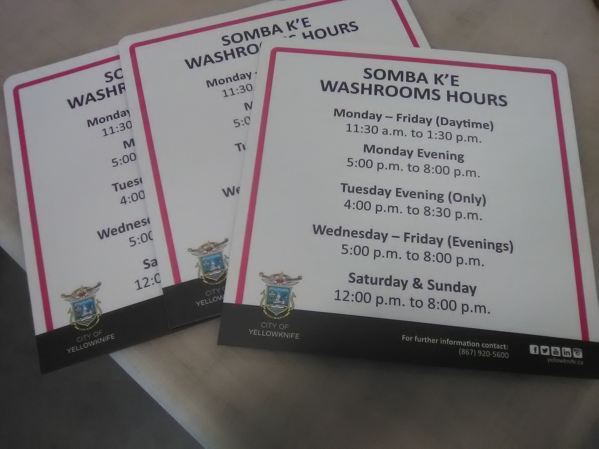 Washroom Hours Signage