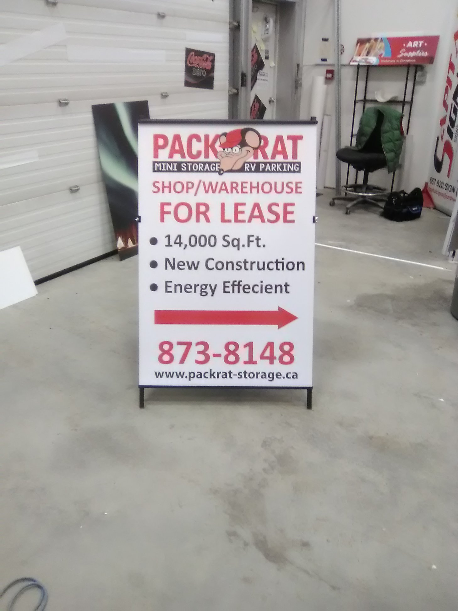 Packrat Storage Sandwich Board Signage