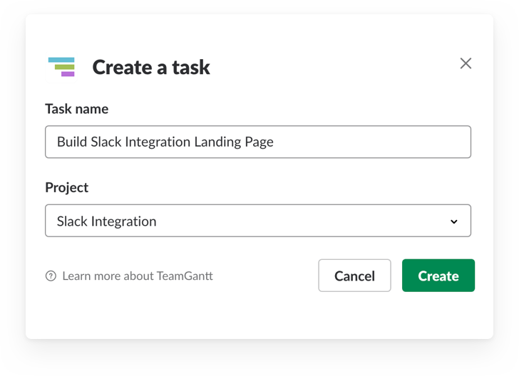 Creating a new TeamGantt task using slash commands