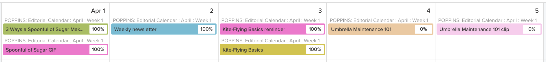 example of published content status on editorial calendar