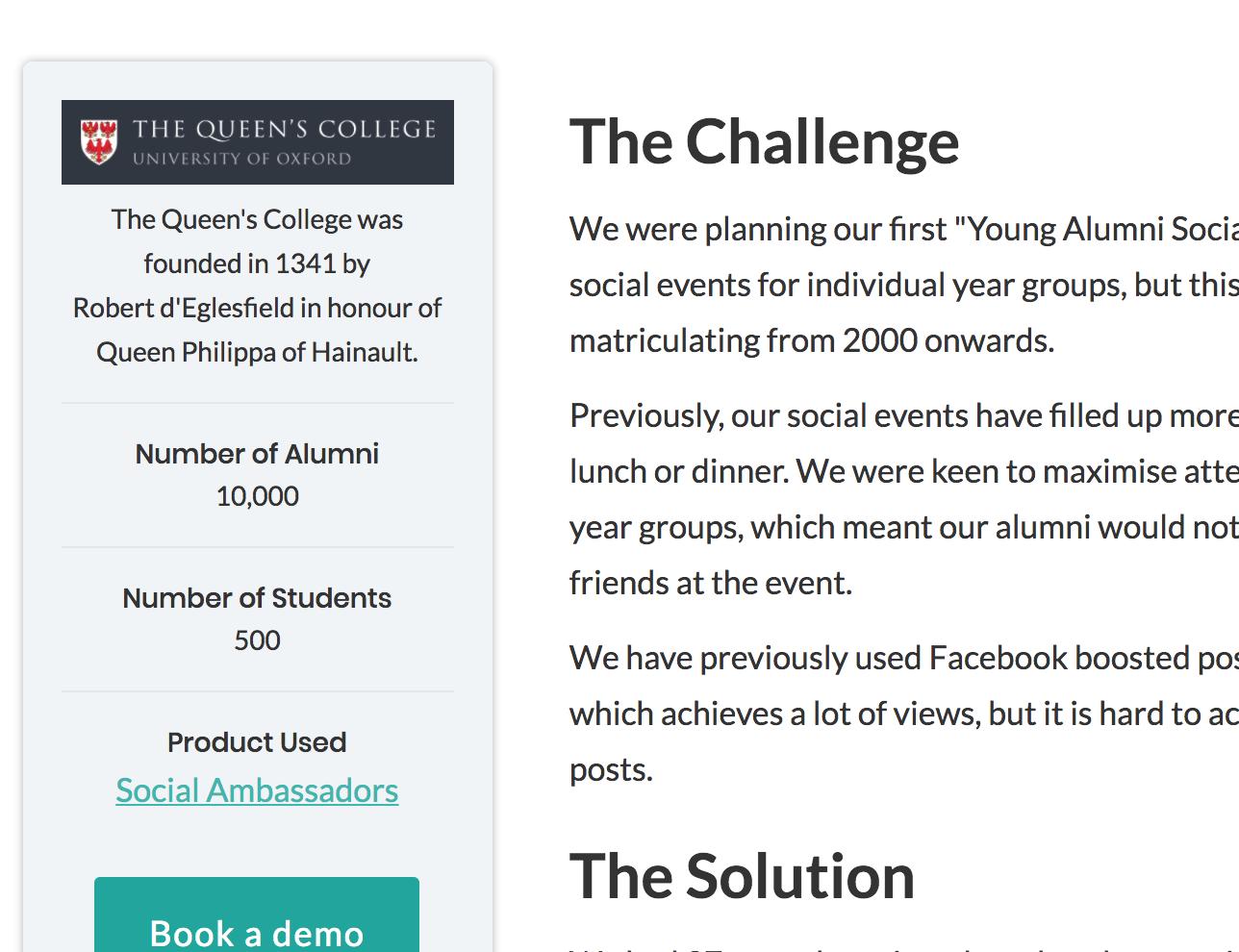 Hubbub screen shot: client case studies