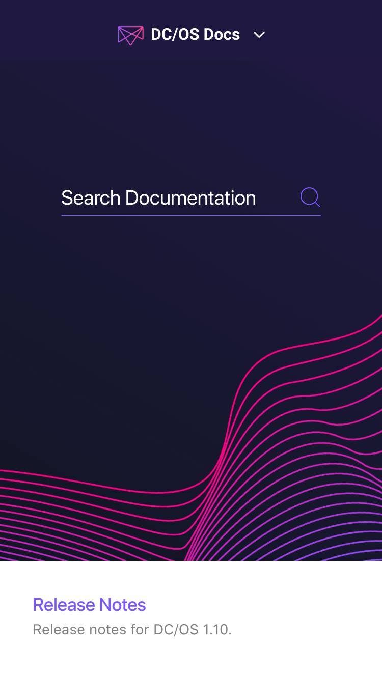 Mesosphere DC/OS mobile homepage
