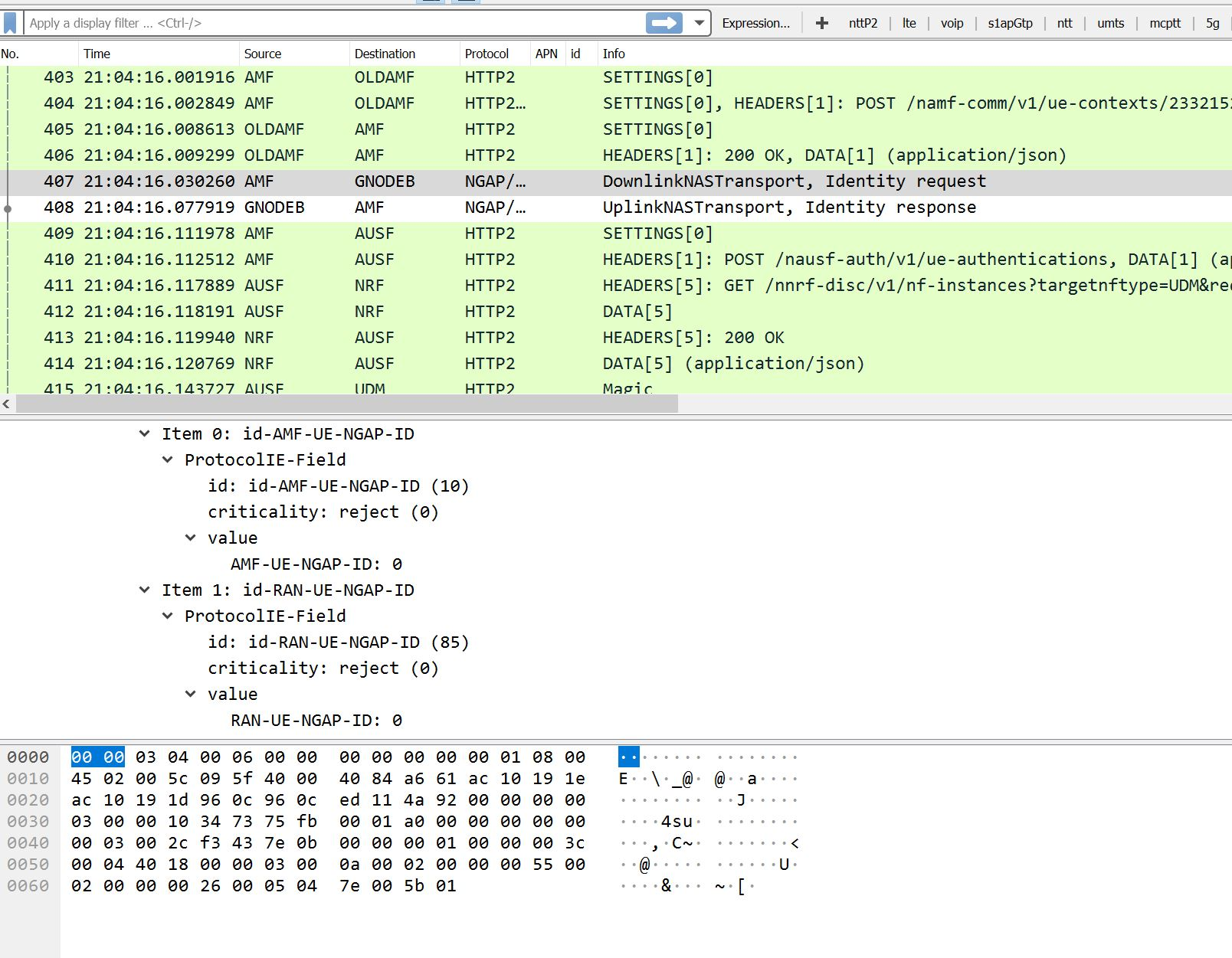 Emulate 5G core (5GC) SA network nodes and generate