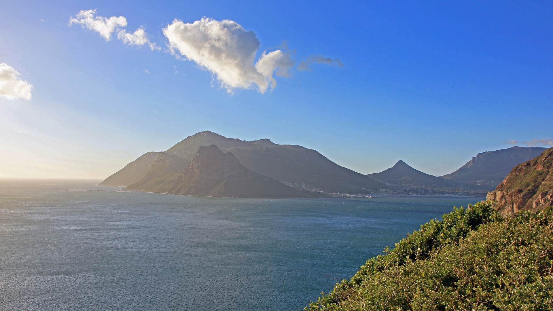 View on Hout Bay from the sea, Cape Town, South Africa