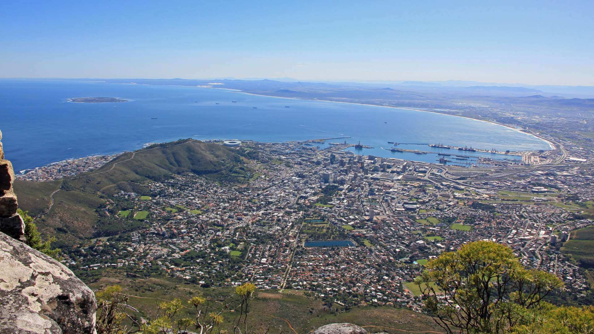 View from Table Mountain to Cape Town, South Africa