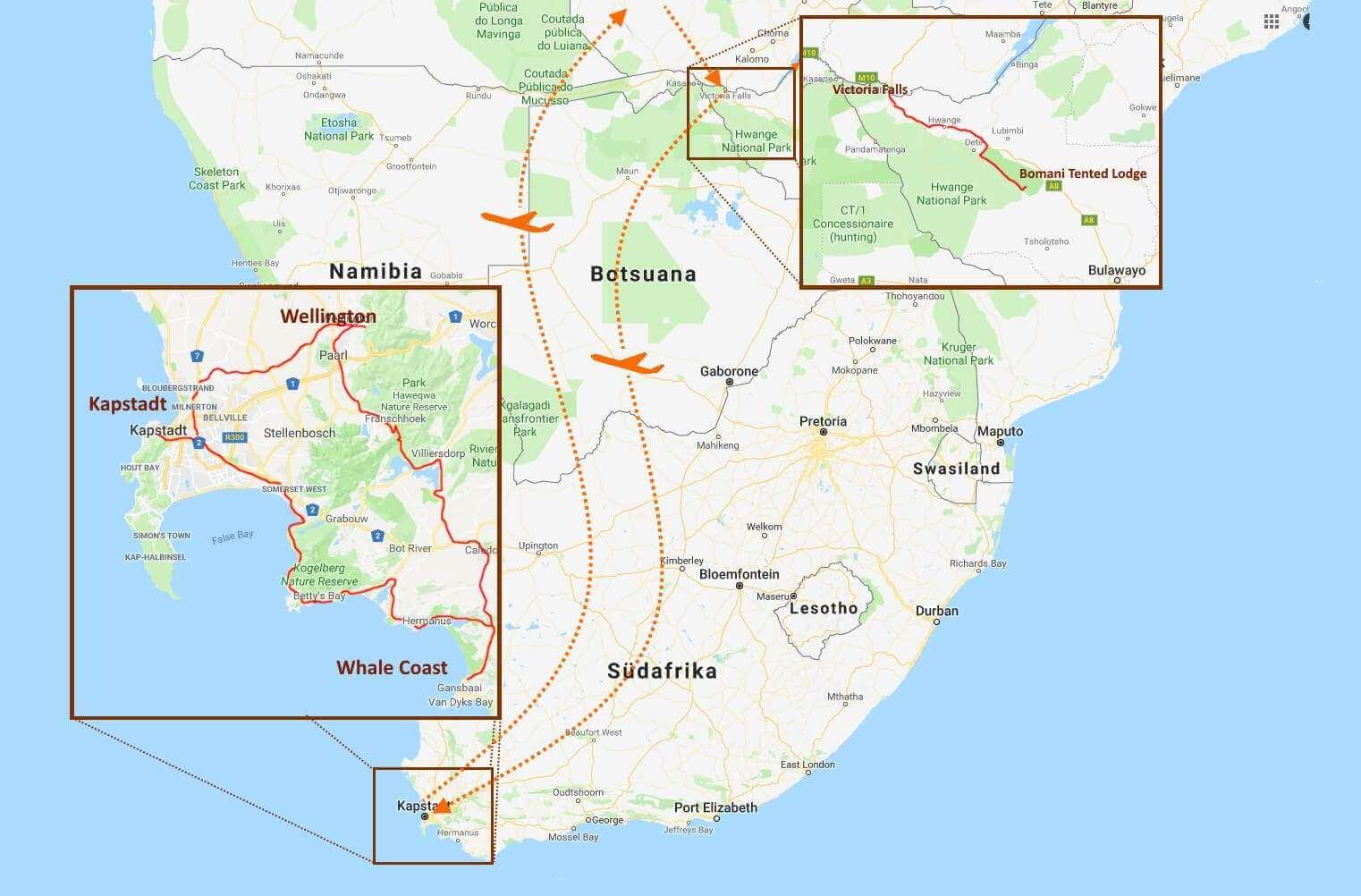 Landkarte mit den Stationen der Tour