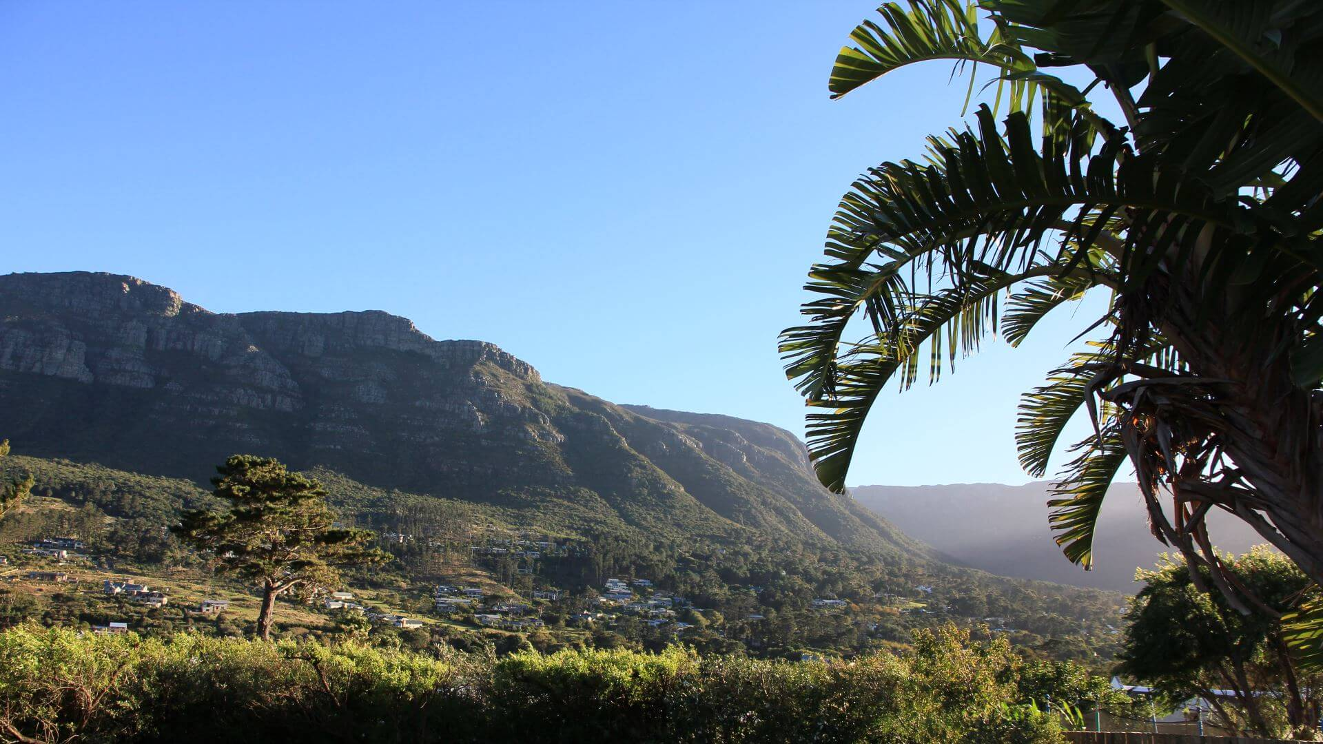 View on Table Mountain from the country side, Cape Town, South Africa