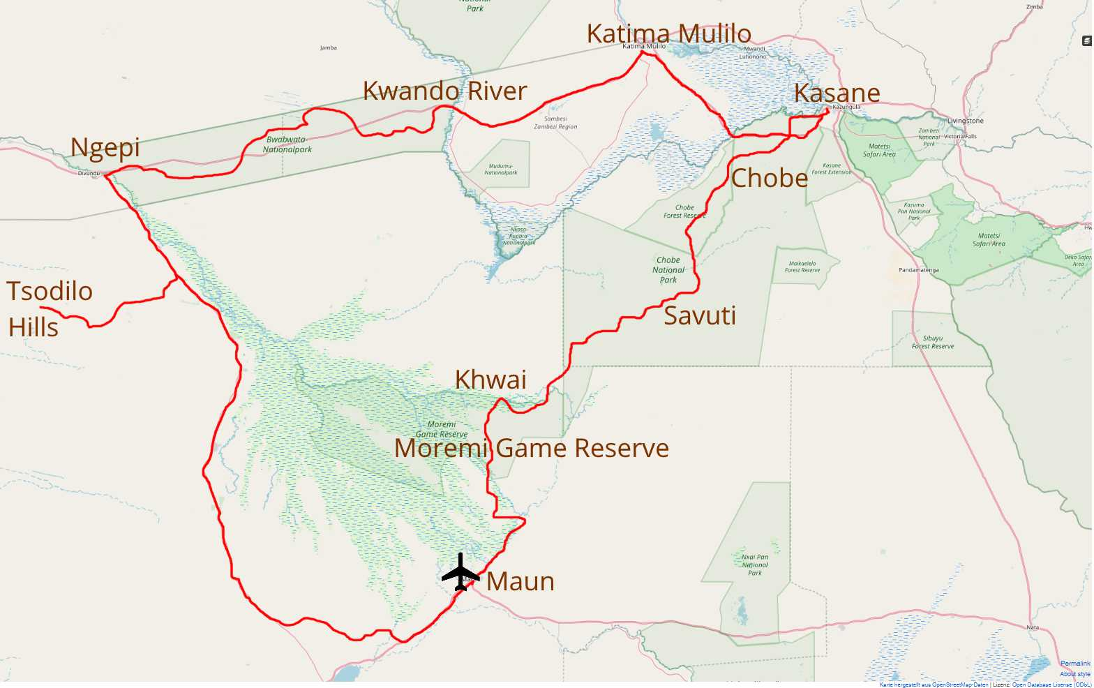 map Rhino Route