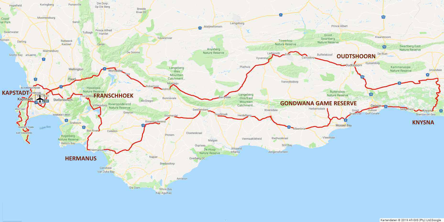 Cape and Garden Route circular