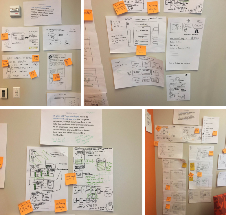 pictures of brainstorming sketches with notes and ideas.