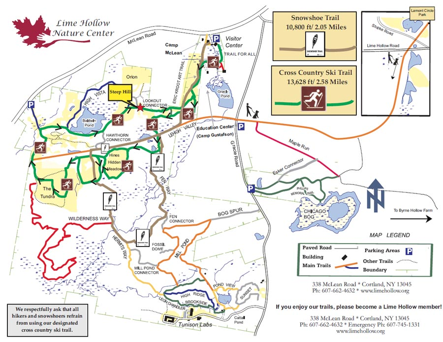 Winter Trail Map of Lime Hollow