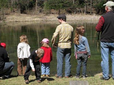 Campers around the bog pond