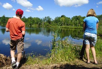 Teens at pond