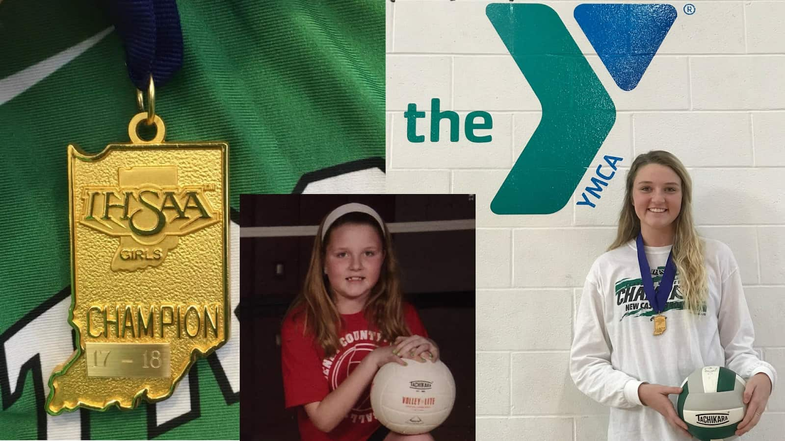 A collage of Merissa holding a volleyball at 9 years old through her senior year next to an shot of her state championship medal.