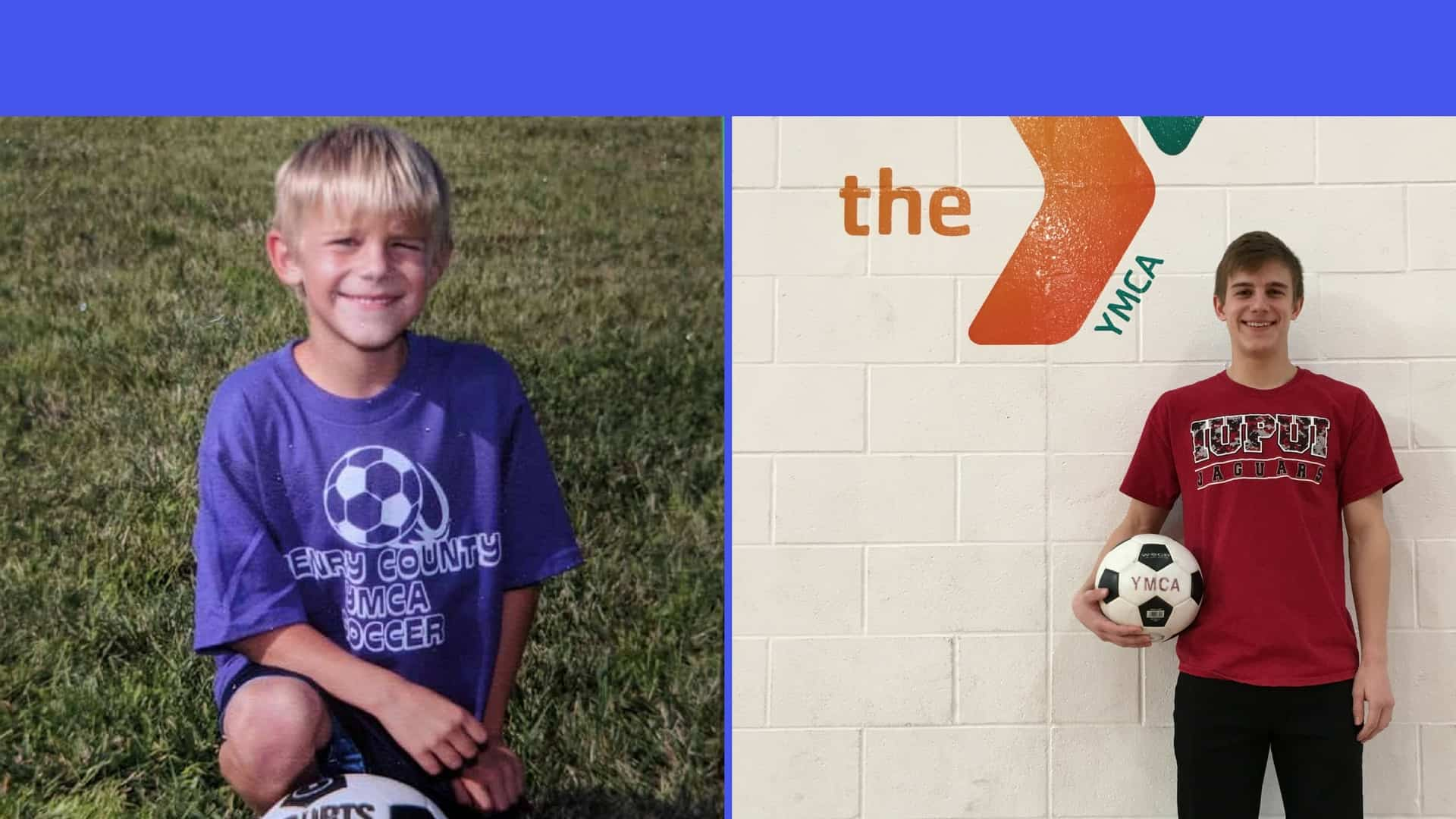 Pair of photos featuring Landon Malott as a young soccer player and in present day.