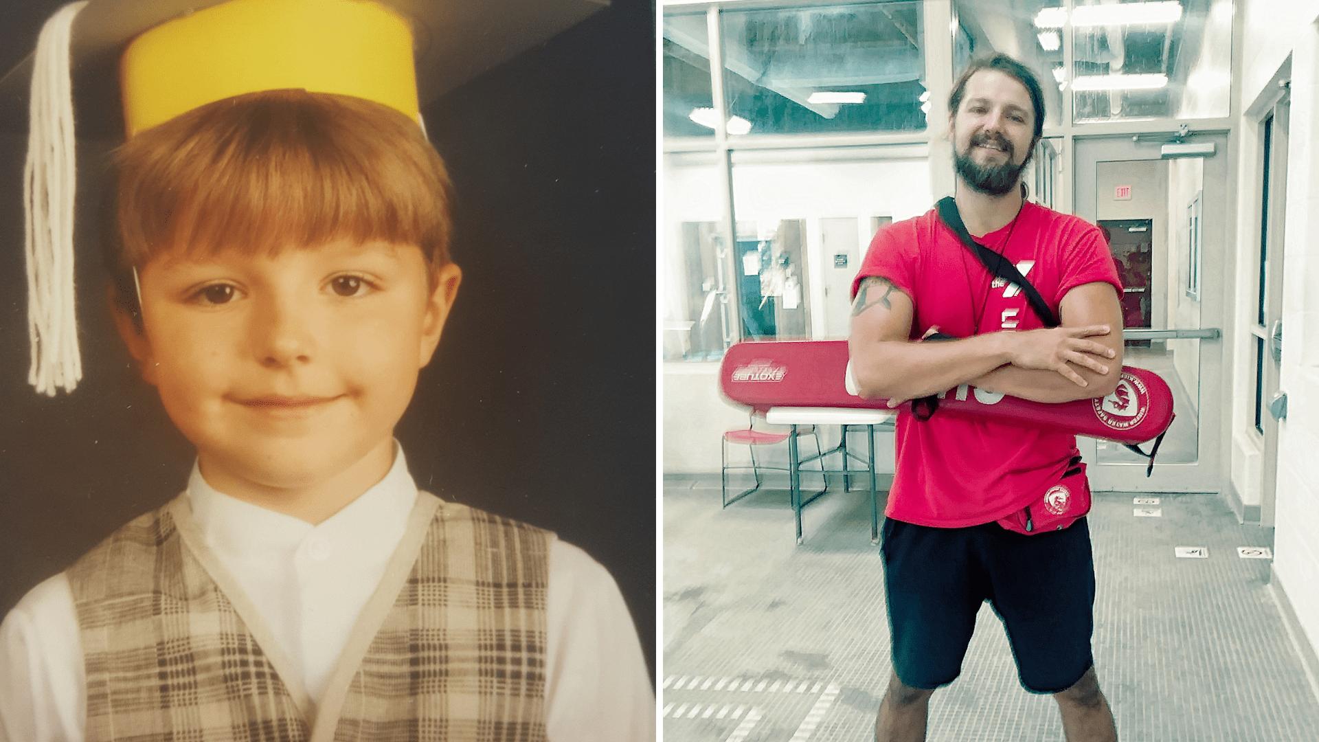 Josh Bramlett as a preschooler and today